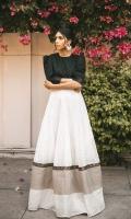 Lawn bodice in black with structured puffy shouldered sleeves and hand spun karandi organza flare comes paired with a cotton lehenga underneath.