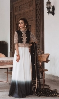 Long white shaded Peshwaz with black bodice, Machine embroidered with antique Gold Tilla Marori. Paired with straight white cotton pants.  * If sleeve length needs to be extended, please mention in order notes while checking out.