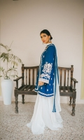 Ocean blue jacket with ivory silk thread embroidery on the sleeves, front and back. Lawn cotton lining , and gharara with tie dyed chiffon dupatta in blue and white .