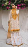 Block printed 3 paneled premium zari linen kameez with embroidered neckline  Block printed cambric gharara. Zari linen dupatta with delicate kiran finishing.