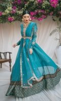 Premium zari linen Peshwas with an embroidered neckline, and belt. fitted sleeves feature intricate chand bala motifs and gotta accents.  Cambric cigarette pants.  Organza dupatta with embroidered chand bala motifs and delicate kiran finishing.
