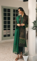 A soot and green combo stitched in a classic lose fit hand block printed kameez, made in premium lawn. paired with a breathable cambric cotton tulip trousers with scalloped hems. The look is complete with a green hand woven cotton karandi dupatta.  3pc Lawn kameez.  Cambric tulip trouser.  Handwoven cotton karandi dupatta.