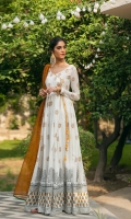 Pakeeza is a beautiful flowy angrakha made out of soft premium quality lawn featuring a heavily block printed daman and base. The set is paired with plain cambric fitted pants and a mustard handwoven cotton karandi dupatta.  3 pc Lawn angrakha.  Fitted cambric pants.  Handwoven cotton karandi dupatta.