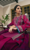 Bina comprises of a beautiful burgundy lawn kameez, block printed in the hues of blue and gold and stitched in a breathable lose silhouette. We have paired this look with a cotton jacquard tulip shalwar and a burgundy handwoven cotton karandi dupatta.  3pc lawn kameez.  Cambric tulip shalwar.  Handwoven cotton karandi dupatta.