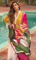 PRINTED SILK DUPATTA: 2.5MTR SCHIFLEE LAWN FRONT: 1 MTR PRINTED LAWN BACK: 1.25MTR DYED CHIFFON SLEEVES: 0.65MTR PRINTED CAMBRIC TROUSER: 2.5MTR Accessories EMBROIDERED SLEEVE BORDER : 1MTR EMBROIDERED FRONT BORDER: 1 MT R EMBROIDERED FRONT PATCH : 1