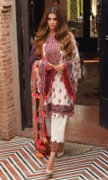 PRINTED SILK DUPATTA: 2.5 MTR PRINTED LAWN FRONT: 1.25MTR PRINTED LAWN BACK: 1.25MTR PRINTED SLEEVES: 0.65MTR DYED CAMBRIC TROUSER: 2.5MTR Accessories EMBROIDERED NECKLINE EMBROIDERED SHIRT BORDER: 2.5MTR