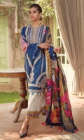 PRINTED SILK DUPATTA: 2.5MTR EMBROIDERED LAWN FRONT: 1.25MTR PRINTED LAWN BACK: 1.25MTR PRINTED SLEEVES: 0.65MTR PRINTED CAMBRIC TROUSER:2.5MTR