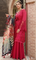 PRINTED CHIFFON DUPATTA: 2.5MTR EMBROIDERED LAWN FRONT: 1.25MTR DYED LAWN BACK: 1.25MTR DYED SLEEVES: 0.65 MTR DYED CAMBRIC TROUSER: 2.5MTR Accessories EMBROIDERED SEQUENCE FRONT BORDER: 1MTR EMBROIDERED SLEEVE BORDER: 1MTR