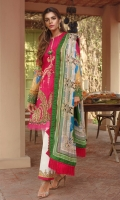 PRINTED CHIFFON DUPATTA: 2.5MTR EMBROIDERED CUTPANA LAWN FRONT: 1.25MTR PRINTED LAWN BACK: 1.25MTR PRINTED SLEEVES: 0.65MTR PRINTED CAMBRIC TROUSER: 2.5MTR