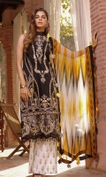 PRINTED CHIFFON DUPATTA: 2.5MTR EMBROIDERED CUTPANA LAWN FRONT: 1.25MTR PRINTED LAWN BACK: 1.25MTR PRINTED SLEEVES: 0.65MTR PRINTED CAMBRIC TROUSER: 2.5MTR Accessories EMBROIDERED SEQUENCE : 1 MTR ORGANZA BORDER FRONT