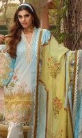 PRINTED SILK DUPATTA: 2.5MTR PRINTED EMBROIDERED LAWN FRONT: 1.25MTR PRINTED LAWN BACK: 1.25MTR PRINTED SLEEVES : 0.6 5 M T R PRINTED CAMBRIC TROUSER: 2.5MTR Accessories EMBROIDERED ORGANZA BORDER: 2 MTR EMBROIDERED ORGANZA NECKLINE BORDER: 2MTR