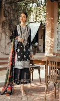 Embroidered Lawn Front       01.25 meters  Printed Lawn Back                 01.25 meters  Printed Lawn Sleeves             0.65 meters  Cambric Trouser                     02.5 meters  Printed Chiffon Dupatta          02.5 meters  Accessories       Printed Border                        01 meter