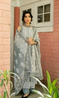 DYED FRONT (JACQUARD) 1.25 METERS  DYED BACK (JACQUARD) 1.25 METERS  DYED SLEEVES (JACQUARD) 0.75 METER  EMBOSS PASTE PRINTED DUPATTA (SLUB KARANDI) 2.5 METERS  DYED TROUSER (CAMBRIC) 2.5 METERS  ACCESSORIES  EMBROIDERED NECKLINE (ORGANZA)  EMBROIDERED BORDERS FOR FRONT (ORGANZA) 1 METERS  EMBROIDERED BORDERS FOR SLEEVES (ORGANZA) 1 METERS