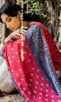 DIGITAL PRINTED FRONT (LAWN) 1.25 METERS  DIGITAL PRINTED BACK (LAWN) 1.25 METERS  DIGITAL PRINTED SLEEVES (LAWN) 0.75 METER  EMBROIDERED DUPATTA (ORGANZA) 2.5 METERS  DYED TROUSER (CAMBRIC) 2.5 METERS  ACCESSORIES  EMBROIDERED NECKLINE (ORGANZA)