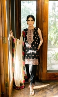DYED EMBROIDERED FRONT (SELF JACQUARD) 1.38 METERS  DYED BACK (SELF JACQUARD) 1.38 METERS  DYED EMBROIDERED SLEEVES (SELF JACQUARD) 0.75 METER  DIGITAL PRINTED DUPATTA (SILK) 2.5 METERS  DYED TROUSER (CAMBRIC) 2.5 METERS  ACCESSORIES  EMBROIDERED NECKLINE (ORGANZA)  EMBROIDERED BORDERS (ORGANZA) 2 METERS