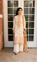 DYED FRONT (JACQUARD) 1.2 METERS  DIGITAL PRINTED BACK (LAWN) 1.25 METERS  DYED SLEEVES (JACQUARD) 0.75 METER  DIGITAL PRINTED DUPATTA (CHIFFON) 2.5 METERS  DYED TROUSER(CAMBRIC) 2.5 METERS  ACCESSORIES  EMBROIDERED NECKLINE (ORGANZA)  EMBROIDERED BORDER FOR SLEEVES (ORGANZA) 1 METER  EMBROIDERED BORDER FOR HEM (ORGANZA) 1 METER