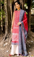 DIGITAL PRINTED FRONT (LAWN) 1.25 METERS  DIGITAL PRINTED BACK (LAWN) 1.25 METERS  DIGITAL PRINTED SLEEVES (LAWN) 0.75 METER  DIGITAL PRINTED DUPATTA (SILK) 2.5 METERS  EMBOSS PASTE PRINTED TROUSER (CAMBRIC) 2.5 METERS  ACCESSORIES  EMBROIDERED NECKLINE (ORGANZA)