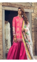 JACQUARD FRONT : 1.25 MTR JACQUARD BACK : 1.25 MTR JACQUARD SLEEVES : 0.65 MTR CAMBRIC TROUSER : 2.5 MTR EMB ORGANZA DUPATTA : 2.5 MTR EMB SHIRT BORDER : 0.92 MTR EMB SLEEVES BORDER : 1 MTR