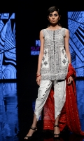Printed shirt with white cotton scalloped tulip shalwar and a red zari cotton net dupatta.