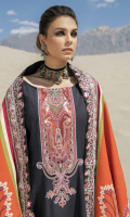 •Embroidered Neckline Khadar Front 1.25 Meters  •Digital Printed Khadar Back 1.25 Meters  •Digital Printed Khadar Sleeves 0.65 Meters  •Khadar Trouser 2.5 Meters  •Digital Printed Khadar Shawl 2.5 Meters  Accessories  •Embroidered Border for Shawl 2.5 Meters.