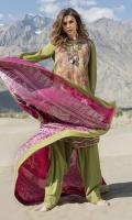 •Embroidered Karandi Front 1.25 Meters  •Digital Printed Karandi Back 1.25 Meters  •Digital Printed Karandi Sleeves 0.65 Meters  •Karandi Trouser 2.5 Meters  •Jacquard Shawl 2.5 Meters