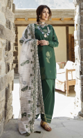 • Jacquard Front 1.25 meters  • Jacquard Back 1.25 meters  • Jacquard Sleeves 0.65 meters  • Cambric Trouser 2.5 meters  • Embroidered Zari Organza Shawl  2.5 meters