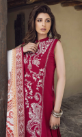•Dyed Khadar Front 1.25 Meters  •Block Printed Khadar Back 1.25 Meters  •Block Printed Khadar Sleeves 0.65 Meters  •Khadar Trouser 2.5 Meters  •Digital Printed Khadar Shawl 2.5 Meters  Accessories  •Embroidered Center Panel for Front 1 Piece  •Embroidered Border on Khadar   1 Meter