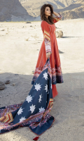 • Embroidered Khadar Front  1.25 meters  • Digital Printed Khadar Back  1.25 meters   • Digital Printed Khadar Sleeves  0.65 meters   • Khadar Trouser 2.5 meters   • Digital Printed Khadar Shawl 2.5 meters  Accessories  • Khadar Embroidered Border  1 meter