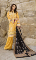 • Embroidered Karandi Front  1.25 meters  • Digital Printed Karandi Back  1.25 meters  • Digital Printed Karandi Sleeves 0.65 meters   • Karandi Trouser 2.5 meters  •Jacquard Shawl 2.5 meters