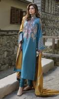 •Embroidered Khadar Front 1.25 Meters  •Digital Printed Khadar Back 1.25 Meters  •Digital Printed Khadar Sleeves 0.65 Meters  •Khadar Trouser  2.5 Meters  •Embroidered Woolen Shawl   2.5 Meters