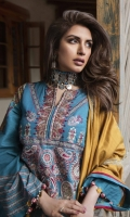•Embroidered Khadar Front 1.25 Meters  •Digital Printed Khadar Back 1.25 Meters  •Digital Printed Khadar Sleeves 0.65 Meters  •Khadar Trouser  2.5 Meters  •Embroidered Woolen Shawl   2.5 Meters