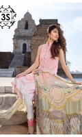 Schiffli Embroidered Lawn Shirt. Embroidered Lawn Sleeves.  Paste Printed Back. Chiffon Digital Printed Dupatta. Dyed Cotton Cambric Trouser with Net Embroidered Patch