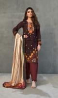 Three pcs printed khaddar suit