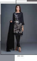 Shirt : Lawn Shirt with Embroidered Front. Dupatta : Chiffon Emboridered Dupatta Trouser : Plain Dyed Cambric Trousers.