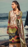 DIGITAL PRINTED COTTON SILK EMBROIDERED SHIRT DUPATTA: DIGITAL PRINTED TWILL SHAWL TROUSER: DYED CAMBRIC TROUSER