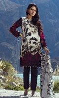 -Un-Stitched 3pc Printed and Embroidered Cambric Shirt. -Printed & Embroidered Chiffon Duptta -Dyed Yard Cambric Trouser