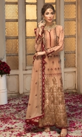 Embroidered chiffon front with hand work Embroidered chiffon side panels Plain chiffon back Embroidered chiffon sleeves  Embroidered chiffon attachment laces Embroidered chiffon dupatta Raw silk trouser