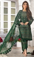 Embroidered chiffon front with hand work Embroidered chiffon side panels Embroidered chiffon back Embroidered chiffon sleeves Embroidered chiffon attachment laces Two toned organza embroidered dupatta Raw silk trouser