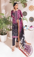- Printed Cambric Shirt & Printed Cambric Dupatta with Gold Border & Dyed Cambric Trouser - Inaya Gold Cambric