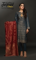 Jacquard Shirt with Jacquard Contrast Dupattas & Cambric Trousers