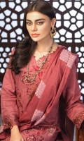 --Shirt : Embroidered Jacquard Lawn with Extra Embroidered Patti. --Dupatta : Jacquard Lawn Dupatta. --Trouser : Cambric Trouser with Embroidered Bunches.