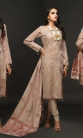 Full Front Embroidered Lawn Jacquard Shirt (Dyed Yarn) .Lawn Jacquard Dupatta. .Cambric Trouser
