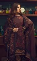 Shirt : Digital Printed Khaddar Shirt with Embroidered Front. Dupatta : Digital Printed Shawl Dupatta. Trouser : Plain Khaddar.