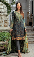 Shirt : Linen Digital Printed Embroidered Shirt Dupatta :Linen Digital Printed Dupatta. Trouser : Dyed Linen Trouser
