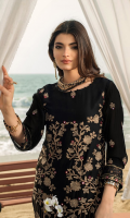 Luxury Embroidered Chiffon Front Embroidered Chiffon Sleeves Dyed Chiffon Back Embroidered Lace Attachment Dyed Raw Silk Inner