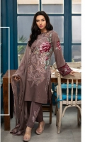 • Shirt : Printed lawn with embroidered front. • Dupatta : Embroidered Chiffon Dupatta • Trouser : Dyed Trouser with Embroidered Bunches/Belts