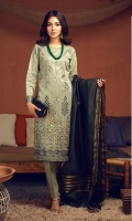 Broshia Jacqaurd Shirt with Embroidered Front, Organza Jacquard Dupatta and Dyed Cambic Trouser.