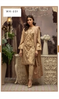 Shirt: Dyed Yarn Jacquard (Two-Tone) With Front Embroidered and Handwork. Dupatta: Jacquard Dupatta Trouser: Dyed Cambric with Embroidered Bunch.