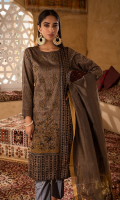 3pc Jacquard Embroidered Shirt With Khaddi Dupatta and cambric Trouser
