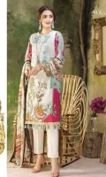 Printed Lawn Shirt with Embroidered Front , Printed Chiffon Dupatta & Cambric Trouser.